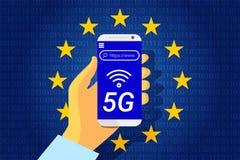 connexion internet sans fil de la prochaine génération 5G Indicateur de l'Union européenne illustration stock