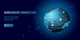 Connexion réseau globale Ligne continente affaires de point de l'Asie de carte du monde d'échange mondiales de dat de technologie illustration libre de droits