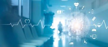 Connexion réseau médicale d'icône avec l'écran virtuel moderne inter Images libres de droits