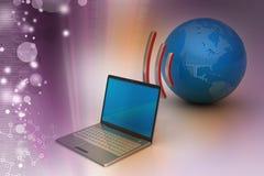 Connexion sans fil d'ordinateurs portables avec la terre Photo libre de droits