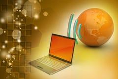 Connexion sans fil d'ordinateurs portables avec la terre Image libre de droits