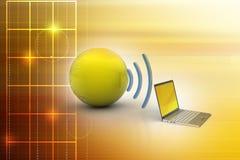 Connexion sans fil d'ordinateurs portables avec la terre Images libres de droits