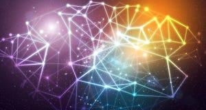 Connexions abstraites au-dessus de fond cologful de galaxie photos libres de droits