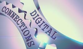 Connexions de Digital - message sur le mécanisme des vitesses métalliques 3d Photo libre de droits