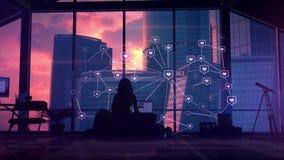 Connexions et communication sociales, infographics illustration libre de droits