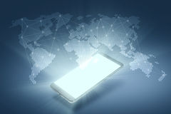 Connexions globales Smartphone avec un DIS olographe illustration libre de droits