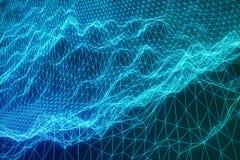 connexions internet de concept de l'illustration 3D dans le calcul de nuage Grille de paysage de cyberespace technologie 3d Bleu  Images libres de droits