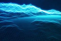 connexions internet de concept de l'illustration 3D dans le calcul de nuage Grille de paysage de cyberespace technologie 3d Bleu  Image stock