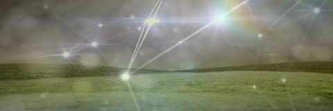 Connexions légères magiques avec des collines d'herbe image stock