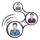 Connexions réseau entre la bande dessinée d'icône de personnes illustration de vecteur