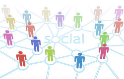 Connexions sociales de medias de gens de couleur de réseau Photo libre de droits