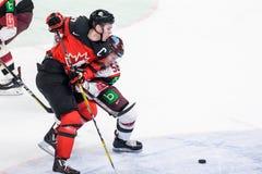 Connor McDavid και Guntis Galvins κατά τη διάρκεια του παιχνιδιού μεταξύ της ομάδας Λετονία και της ομάδας Καναδάς Στοκ φωτογραφία με δικαίωμα ελεύθερης χρήσης