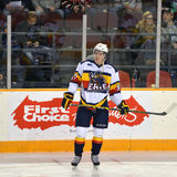 Connor McDavid in front of First Choice sign Stock Photo