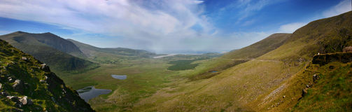 Connor Pass. Panoramatic view from Connor Pass, Dingle, Co. Kerry, Ireland royalty free stock images
