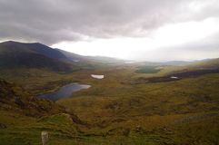 Connor pass landscape. Connor pass lakes  in dingle peninsula in ireland Stock Photo