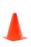 Cono arancio di plastica della strada, isolato su un fondo bianco Immagine Stock Libera da Diritti