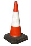 Cono británico de los trabajos de camino del tráfico. Foto de archivo
