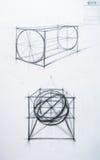 Cono, cubo, el cilindro. Academic de drenaje Fotos de archivo libres de regalías