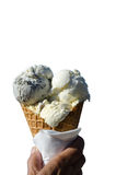 Cono de helado aislado en blanco Imagen de archivo