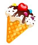 Cono de helado con el chocolate y la cereza Vector el ejemplo, clip art, aislado en el fondo blanco Fotografía de archivo