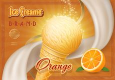 Cono de helado con la publicidad anaranjada del vintage Fotos de archivo