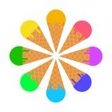 Cono de helado delisious sabroso Flor del helado en el postre de la galleta aislado en el fondo blanco Ilustración del vector libre illustration
