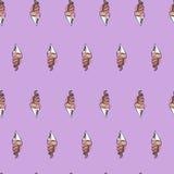 Cono de helado torcido Modelo inconsútil estilizado Ilustración del vector Fondo dulce del postre Fotos de archivo libres de regalías