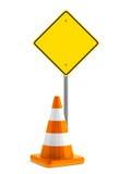 Cono de la señal de tráfico y del tráfico Foto de archivo