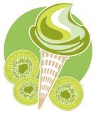 Cono del kiwi del gelato Immagini Stock Libere da Diritti