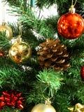 Cono del pino en un árbol de navidad Imágenes de archivo libres de regalías