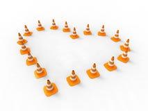 Cono del tráfico del corazón Imagenes de archivo