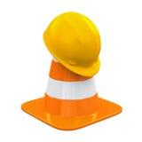 Cono del tráfico y casco de seguridad Fotos de archivo