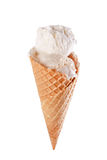 Cono della crema di gelato alla vaniglia Immagini Stock Libere da Diritti