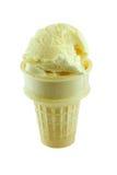 Cono della crema di gelato alla vaniglia Fotografia Stock