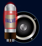 Cono della valvola e dell'altoparlante dell'amplificatore Fotografia Stock Libera da Diritti