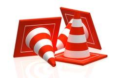 Cono di traffico isolato su 3d bianco- Fotografia Stock
