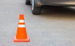 Cono di traffico per sicurezza stradale Fotografia Stock