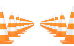 Cono di traffico stradale isolato su fondo bianco Immagini Stock Libere da Diritti