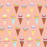 Cono divertente della cialda del gelato di Kawaii del modello senza cuciture, museruola con le guance rosa ed occhi sbattere le p Immagine Stock Libera da Diritti