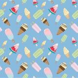 Cono gelato e modello senza cuciture della barra di gelato sul blu Immagini Stock
