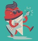 Cono gelato pazzo che gioca chitarra elettrica Fotografie Stock