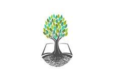 Conocimiento del árbol, logotipo del libro, natural, aprendizaje, icono, sano, símbolo, plantas, escuela, jardín, libros, orgánic Foto de archivo libre de regalías