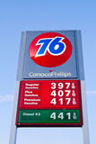 Conoco Phillips 76 Gas Station Fuel Prices Sign Royalty Free Stock Photos