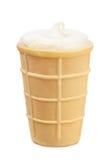 Conos de helado de la fresa, del chocolate, de la vainilla y del pistacho sobre el fondo blanco Imágenes de archivo libres de regalías