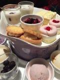 Conos de helado de la fresa, del chocolate, de la vainilla y del pistacho sobre el fondo blanco Fotos de archivo