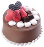 Conos de helado de la fresa, del chocolate, de la vainilla y del pistacho sobre el fondo blanco torta del helado de chocolate Imagen de archivo libre de regalías