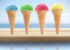 Conos de helado del verano Fotografía de archivo