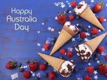 Conos de helado felices del partido del día de Australia Fotografía de archivo libre de regalías