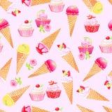 Conos de helado púrpuras, magdalenas con la acuarela v inconsútil de las rosas ilustración del vector