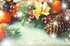 Conos de la Navidad, de la composición del Año Nuevo con las mandarinas, del árbol de abeto y del pino Decoración brillante del d Imagen de archivo libre de regalías